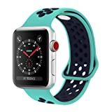 YC YANCH Greatou Compatible for Apple Watch Band 38mm,Soft Silicone Sport Band Replacement Wrist Strap Compatible for iWatch Apple Watch Series 3/2/1,Nike+,Sport,Edition,S/M,Turquoisemid Midnightblue (Color: Turquoisemid/Midnightblue, Tamaño: 38mm S/M)
