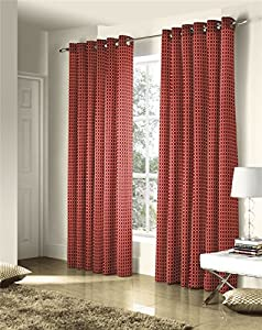 Savoy Red Gold Embroidered Chain Link Lined 46x90 Ring Top Curtains #ztir *as* from Curtains