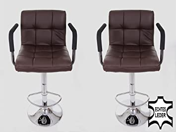 2x Barstools brown REAL LEATHER Swivel height adjustable upholstery