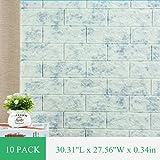 3D Wallpaper Marble Brick Wall Panel Self Adhesive Granite Tiles Soft PE Foam Sticker 58.19 sq feet 10 Pack (Color: Green, Tamaño: 10 Pack)