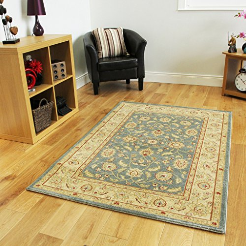 Large Thick Floral Blue Beige Traditional Border Area Rugs - Zielger 200cmx300cm (6'6