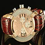 Brown Leather Men Custom Pink Fathers Day Aqua Master Diamond Watch