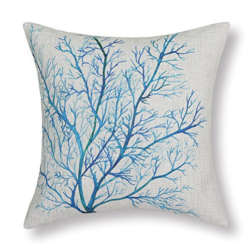 CaliTime Cushion Cover Throw Pillow Shell 18 X 18 Inches, Aquarelle Painting Print, Coral Trees Blue Teal (Light Blue Coral compare prices)