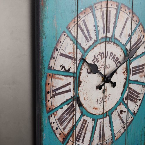 Aero Snail Vintage Retro Country Style Light Blue Wood Wall Clock Home Decor Watches 2