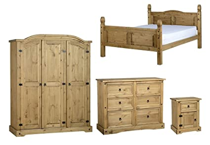 Seconique Corona 4 Piece Bedroom Set - High Foot End King Size Bed + 3 Door Wardrobe + 6 Drawer Chest + 1 Drawer 1 Door Bedside Cabinet - Waxed Pine Colour
