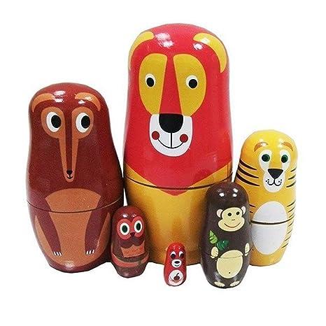 Veewon Mignonne Dessin animé Animaux Poupées de rangement Matryoshka Madness poupée russe jouets faits à la main enfants jouet - 6pcs