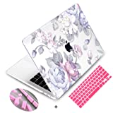 Mektron Floral Print Hard Case with Dust Plug & Keyboard Cover for Old MacBook Pro 15 Inch with CD-ROM Non-Retina (Model A1286),White Flowers (Color: White Flowers, Tamaño: Old Pro 15 with CD-ROM A1286)
