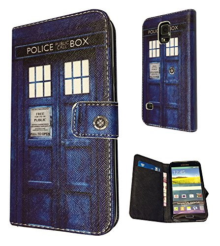 3D- Samsung Galaxy S5 Mini Doctor Who Tardis Police Call Box Fun Design Fashion Trend Full Case / Book Style Flip cover Defender Credit Card Holder Pouch Case Cover Wallet TPU Leather (Doctor Who Samsung S5 Mini Case compare prices)