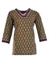 Karni Women's Cotton Green & Red Kurti