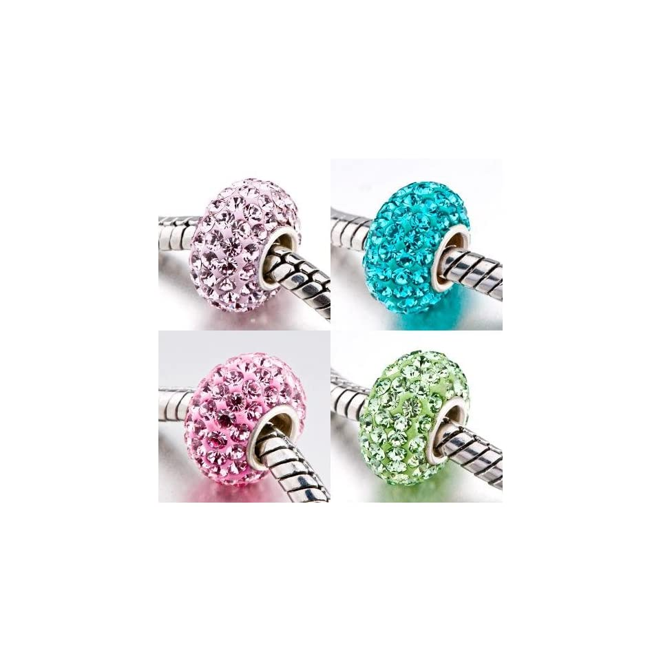 Pugster 4 Pc 925 Sterling Silver Crystal Beads Charms Set Fits Pandora Charm Bracelet   Made With Over 40 Swarovski Crystals   Can Also Be Worn As Pendant   Comes Packed Inside A Lovely Velvet Pouch   Add Sparkle To Your Collection Of Pugster Charms