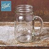 Made In USA 【Ball】ボール Drinking Mug ドリンキング マグ Mason Jar メイソンジャー ハンドル付き 取って 16oz 480ml Clear クリアー