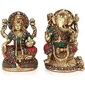 AapnoCraft Beautiful Laxmi Ganesh Statue - Brass Handmade Lakhmi Ganesha Idols With Coral Inlay Work Hindu God...