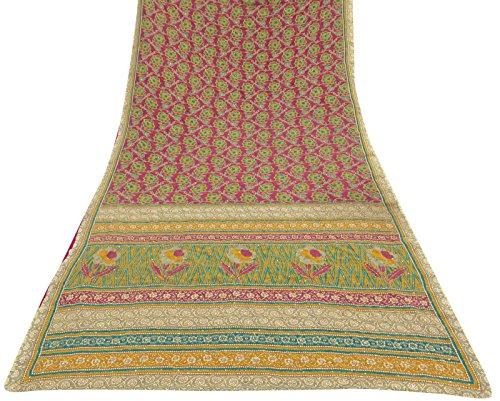 tessuto-indiano-etnica-vintage-saree-poly-crepe-stampata-floreale-magenta-sari-craft