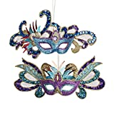 Kurt Adler Glittered/Sequined Carnival Mask Holiday Ornaments - Set of 2