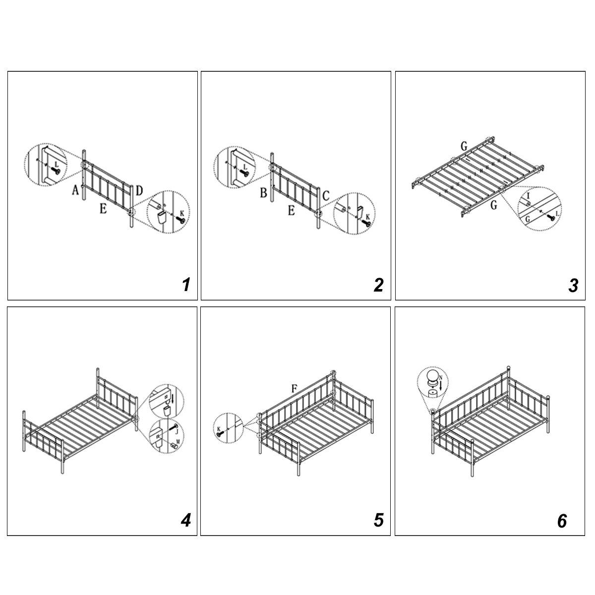 Daybed Frame with Headboard Steel Support Slats Box Spring Replacement Twin Size Black