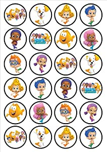 Bubble Guppies Edible PREMIUM THICKNESS SWEETENED VANILLA,Wafer Rice Paper Cupcake Toppers/Decorations