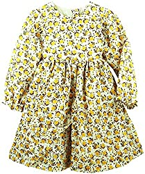 Oye Girls Long Sleeve Double Layered Dresss - Ecru/Yellow (4-5Y)
