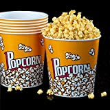 [Novelty Place®] Retro Style Plastic Popcorn Containers for Movie Night - 7.25