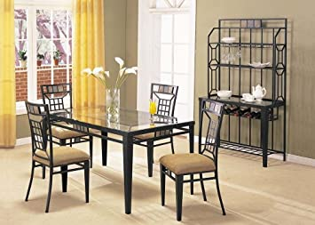 Acme 08285 Douglas Black Finish with Glass Top Dining Table Set