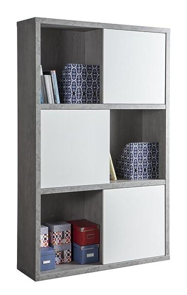 Libreria a dodici vani con ante scorrevoli color cemento e bianco laccato lucido
