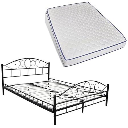 vidaXL Bettgestell Bett Metallbett Schlafzimmerbett + Matratze schwarz 140 x 200 cm