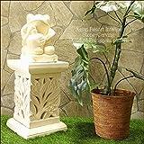 MANJA STO-0209 送料無料 バリ島 石彫り プルメリア ディスプレイスタンド 角柱型 ガーデニングパーツ