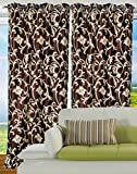 "Hargunz Eyelet Tree Design Polyester Long Door Curtains - 108""x48"", Pack of 2 Curtain, Brown (KS066-2-3)"