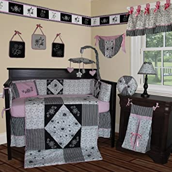 Beautiful Custom Baby Bedding Black White Pink PCS Crib Bedding Set