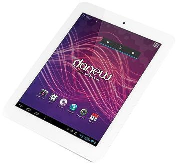 "Danew DSlide 802 Tablette tactile 8"" (20,32 cm) Rockchip RK3066 1,5 GHz 8 Go Android Jelly Bean 4.1.2 Wi-Fi Blanc Aluminium"