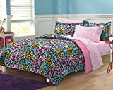 6101Khk8BmL. SL160  Neon Leopard Ultra Soft Microfiber Girls Comforter Sheet Set, Multi