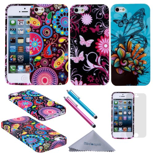 iPhone 5s Case, iPhone SE Case, Wisdompro 3pcs Bundle Pack of Color and Graphic Soft TPU Gel Protective Case Covers for Apple iPhone 5/5s/SE (Jellyfish Butterfly Pattern) (Packages Of Iphone 5s Cases compare prices)