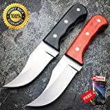2 PC 6.25'' FULL TANG SHORT SKINNER SURVIVAL HUNTING KNIFE SKINNING FIXED BLADE For Hunting Tactical Camping Cosplay + eBOOK by MOON KNIVES