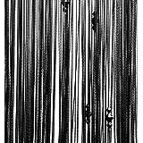 Fadenvorhang Fadengardine Türvorhang 200 x 100 cm, für Raumteilen und Deko (schwarz, Faden mit Perlen)