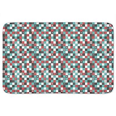 Modern Checkered Bathroom Rugs Incrediby Soft Memory Foam Spa Quality