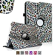 Fintie (Leopard Rainbow) 360 Degrees Rotating Stand Case Cover for Samsung Galaxy Note 10.1 inch Tablet N8000...