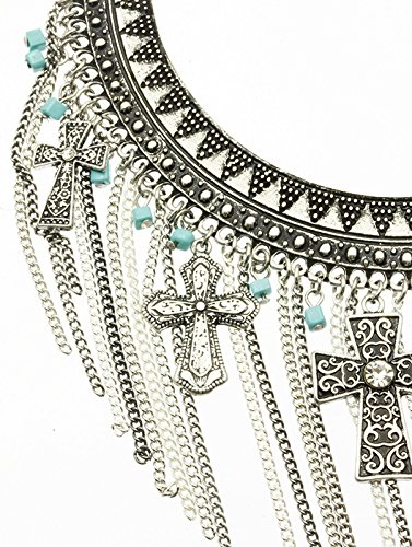 Turquoise Metal Bib Southwestern Style Necklace And Earring Set Fashion Jewelry And Accessory Beautiful Charms