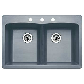 Blanco 440219-3 Diamond 3-Hole Double-Basin Drop-In or Undermount Granite Kitchen Sink, Metallic Grey