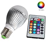 JIAEN Energy Efficient LED 9W E27 16 Colors Changing Mood Light Bulb with Remote Control and Dimmer,Wide Voltage 85-265V