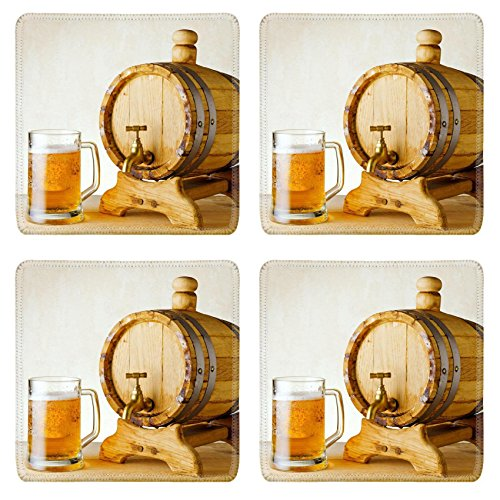 Liili Square Coasters 4 Pieces per order beer and barrel on the wood table IMAGE ID 10658440
