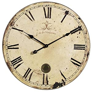 Aged Oversized Wall Clock 23 D Yellow Cream