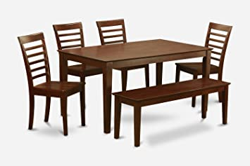 East West Furniture CAML6C-MAH-W 6-Piece Dining Room Table with Bench
