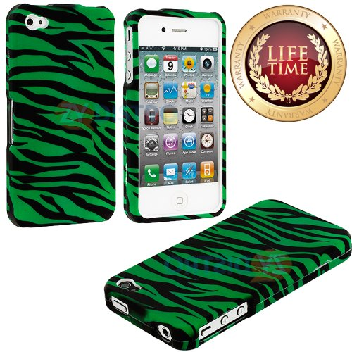 "myLife (TM) Black + Green Zebra Stripes Series (2 Piece Snap On) Hardshell Plates Case for the iPhone 4/4S (4G) 4th Generation Touch Phone (Clip Fitted Front and Back Solid Cover Case + Rubberized Tough Armor Skin + Lifetime Warranty + Sealed Inside myLife Authorized Packaging) ""ADDITIONAL DETAILS: This two piece clip together case has a gloss surface and smooth texture that maximizes the sty at Amazon.com"