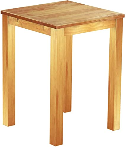 Brasil High Table 'Rio' 80 x 80 cm Solid Pine Wood, Colour: Honey