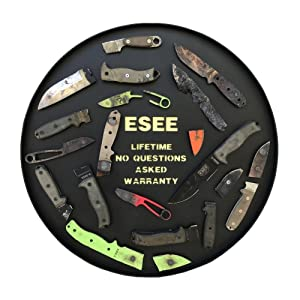 ESEE Knives JUNGLAS-E, Junglas Fixed Blade Knife, 10.38 Drop Pt, Micarta Handle, Gray (Color: Black/Canvas, Tamaño: One Size)