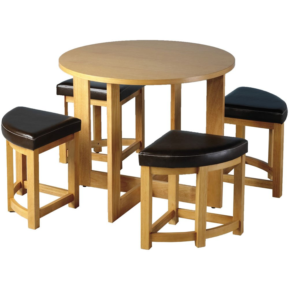 WOOD STOWAWAY DINING SET 36  RADIUS WITH 4 STOOLS BY CENTURION PINE       review and more information