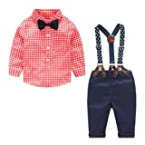 Yilaku Toddler Boys Outfits Suit Infant Clothing Newborn Baby Boy Clothes Sets Gentleman Plaid Top+Bow Tie+Suspender Pants (6-9 Months, Red) (Color: Red, Tamaño: 6 - 9 Months)