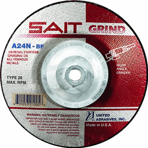 United Abrasives/SAIT 21020 4-1/2 by 1/4 by 7/8 A24N Type 28 Grinding Wheel, 25-Pack (United Abrasives Inc compare prices)