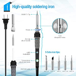 Soldering Iron Kit 60W,Adjustable Temperature Soldering Iron,ESD Wristband, 5 Solder Tips, Solder Sucker, Solder Wire, Soldering Iron, Tweezers,with Tool Carry Case (Color: Black, Tamaño: Small)