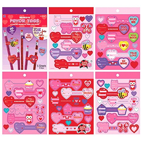 Valentine Adhesive Favor Tags
