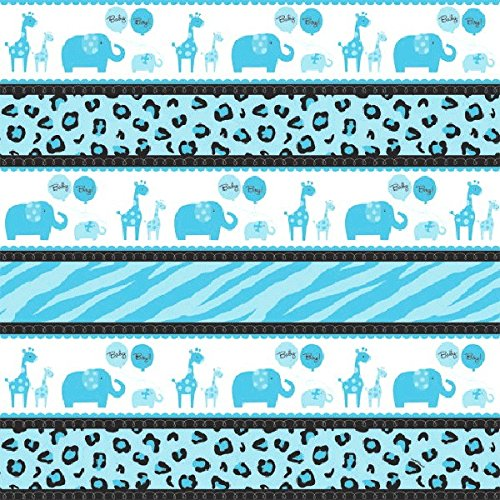 Amscan Sweet Safari Boy Printed Baby Shower Party Gift Wrap with Hangtag, 5' x 30', Blue/White - 1